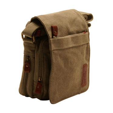 Troop London – Small Khaki Classic Messenger/Body Bag in Canvas-Leather
