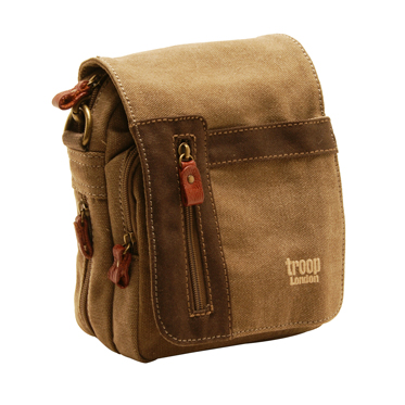 Troop London – Small Brown Classic Messenger/Body Bag in Canvas-Leather