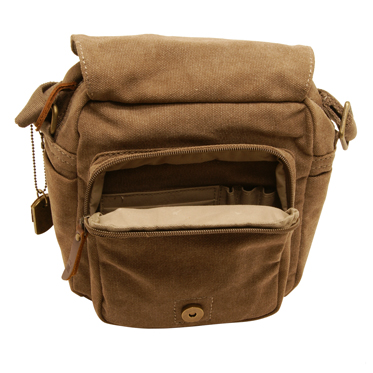Troop London – Small Brown Heritage Messenger/Body Bag in Canvas-Leather