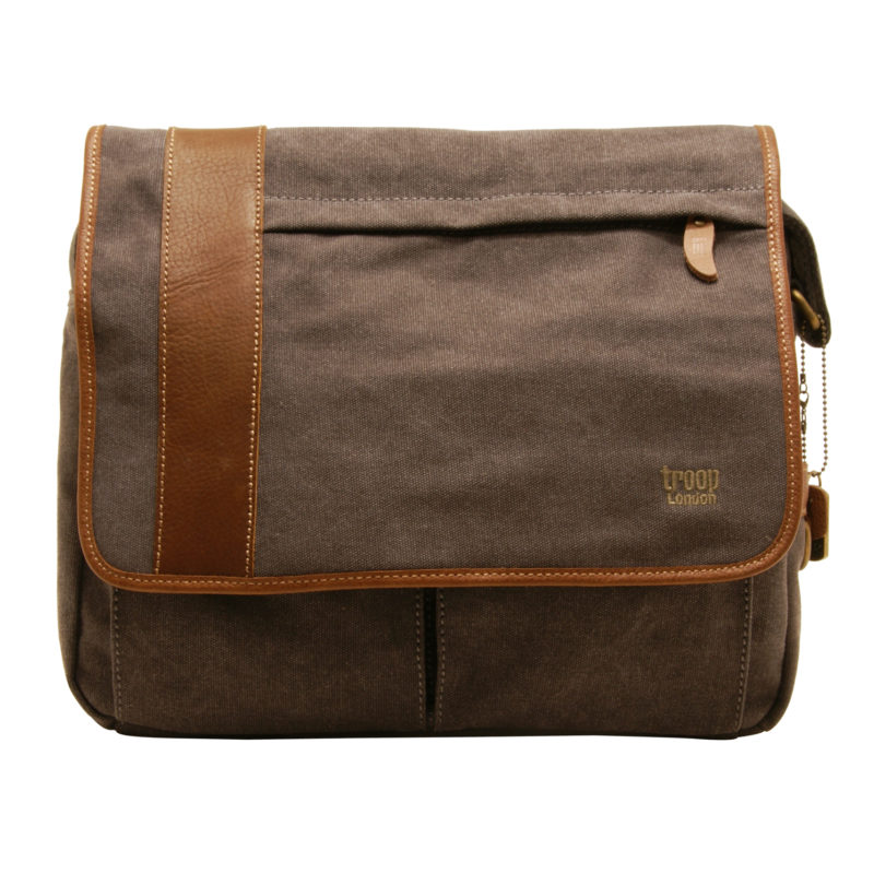Troop London – Black Heritage Messenger Bag in Canvas-Leather