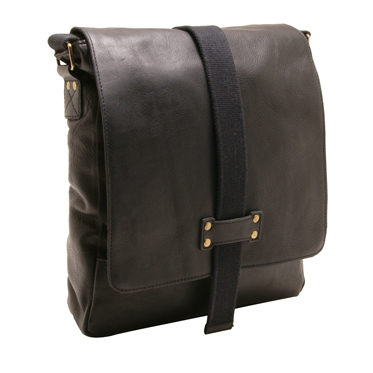 Ashwood – Black A4 Cow Softy Leather and Canvas Sligo Messenger Bag