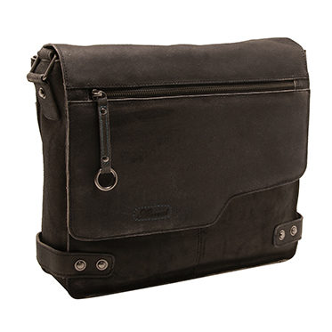 Ashwood – Antique Black Distressed Cow Vintage Leather Camden Messenger Bag