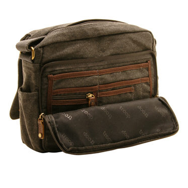 Troop London – Black Dorchester Messenger/Across Body Bag in Canvas-Leather