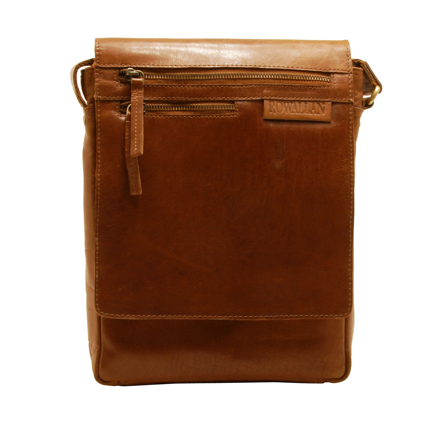 Rowallan – Cognac Pittsburgh North/South Messenger Bag in Oil Tanned Buffalo Leather