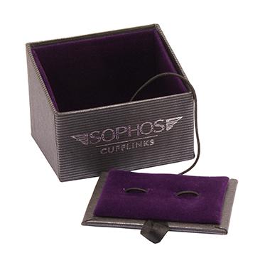 Sophos – Red & White Spot Oval Cufflinks in Gift Box