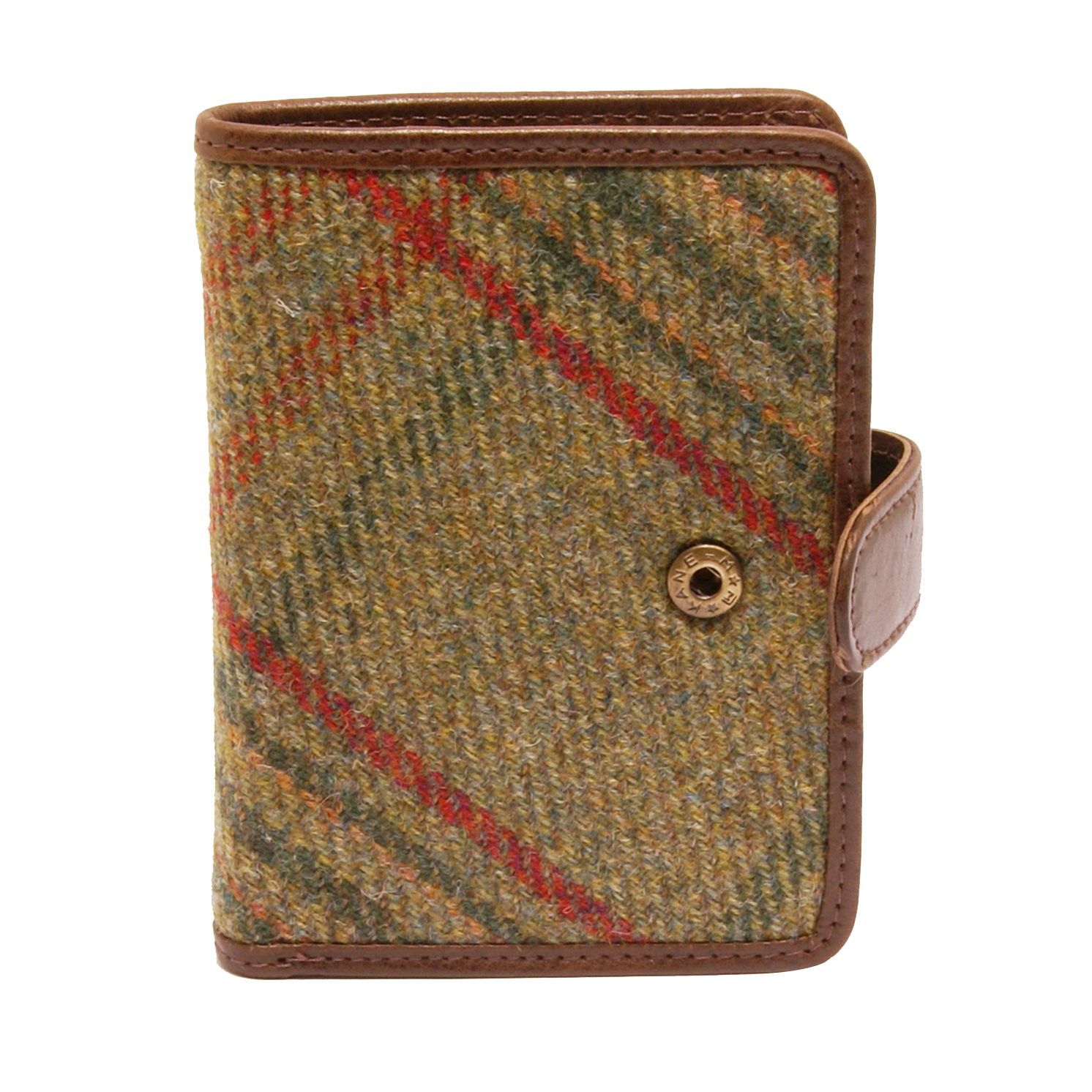 PellMell – Green Islay Tweed Wallet with Coin Purse and Brown Leather Trim