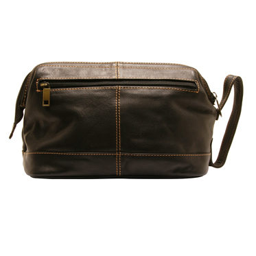 Rowallan – Black Buchanan Top Frame Soft Cowhide Leather Wash Bag
