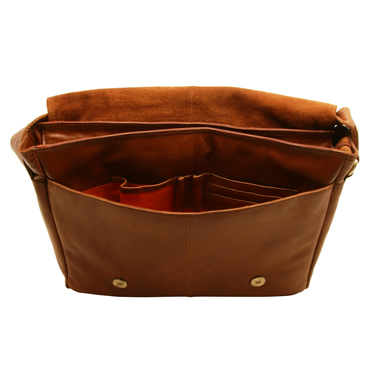 Rowallan – Medium East/West Cognac Pittsburg Messenger Bag in Oil Tanned Buffalo Leather