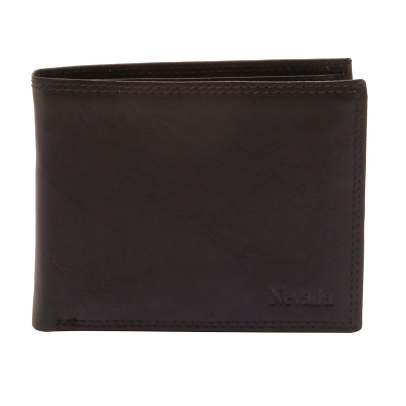 Hansson – Black Leather Nevada Flip Up Billfold Wallet with Coin Purse