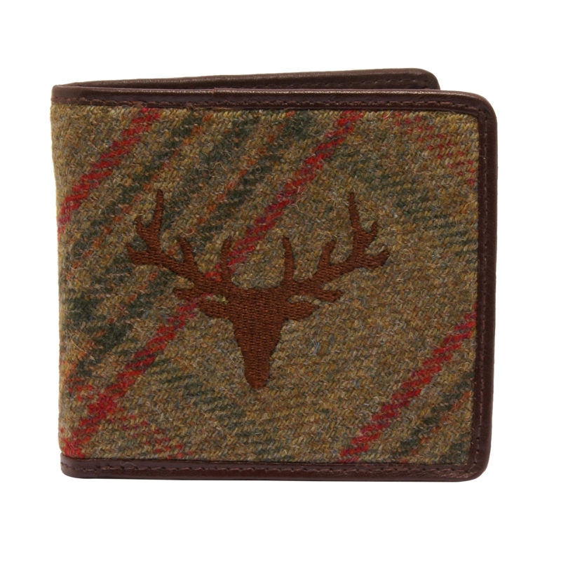 PellMell – Green Islay Tweed Stag Classic Wallet with Coin Purse and Brown Leather Trim