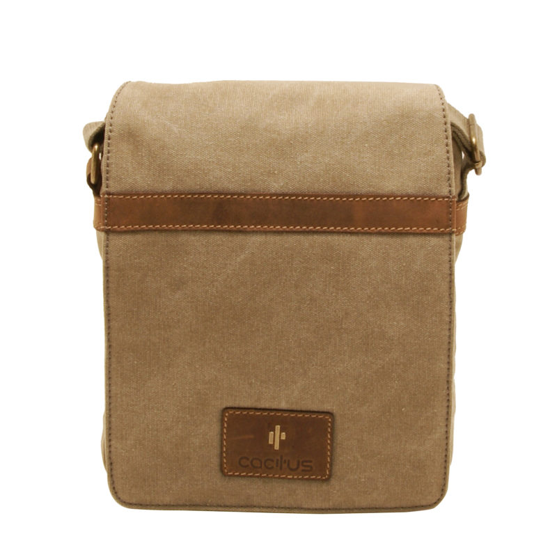 Cactus – Medium Cross Body Messenger Bag in Khaki Canvas