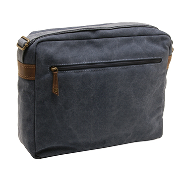 Cactus – Zipped Top Messenger Bag with Laptop/Tablet Sleeve in Denim Blue Canvas