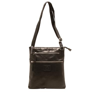 Rowallan – Black Body Cross Zip Sectioned Messenger Bag in Gaucho Leather