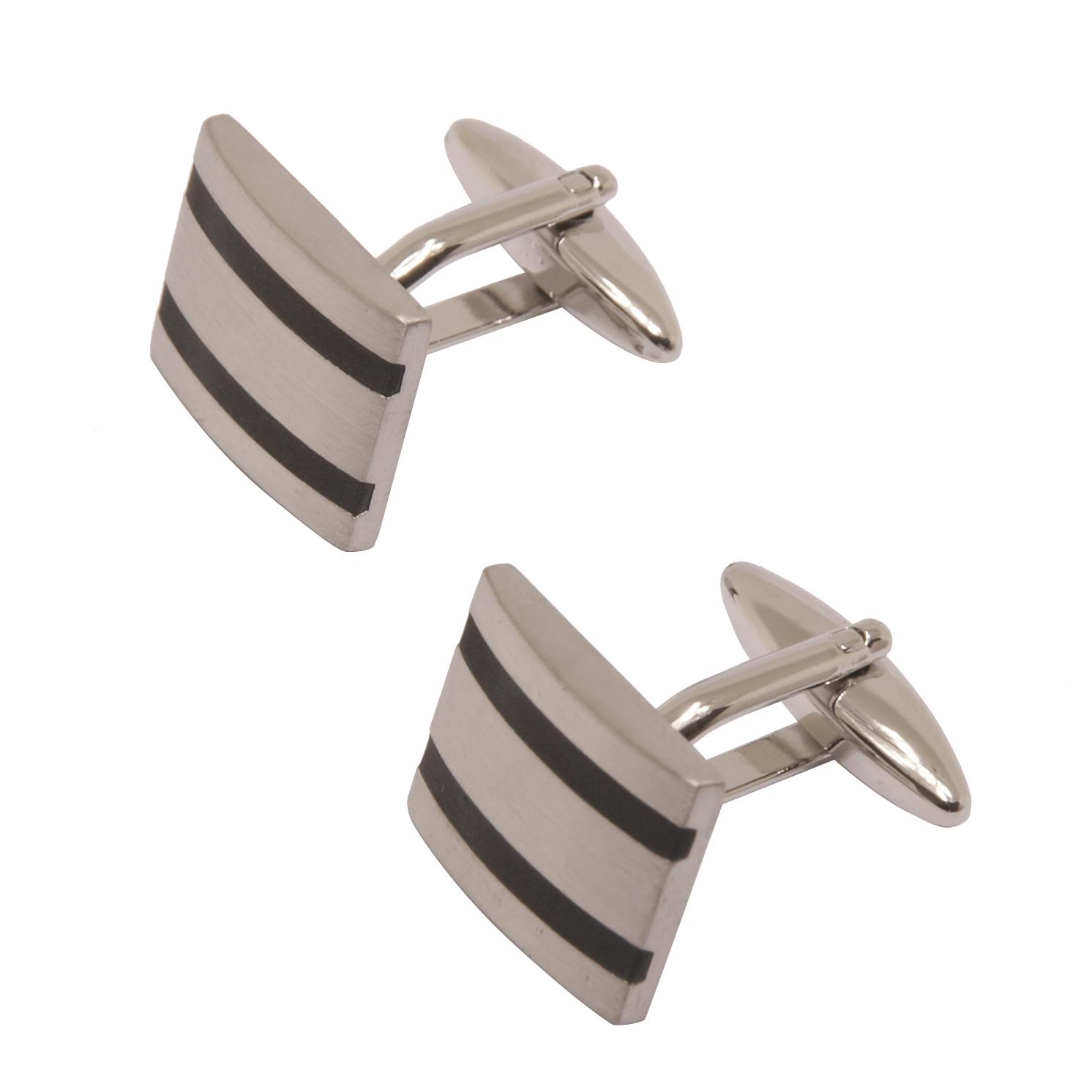 Sophos – Brushed Silver Cufflinks with Black Enamel Stripes in Gift Box