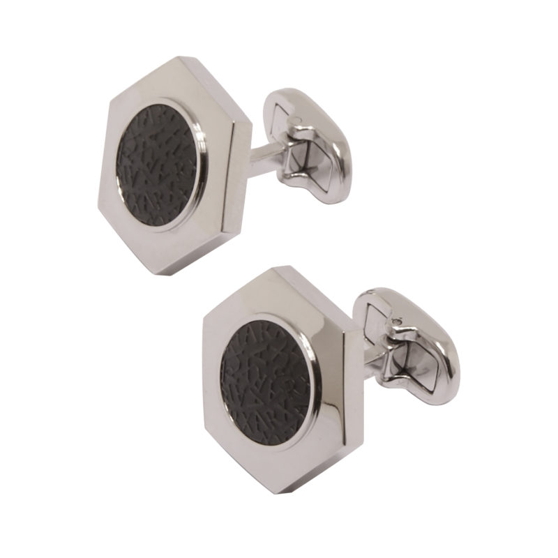 Jos Von Arx – Arx Hexagonal Shaped Cufflinks with Arx Black Logo Design
