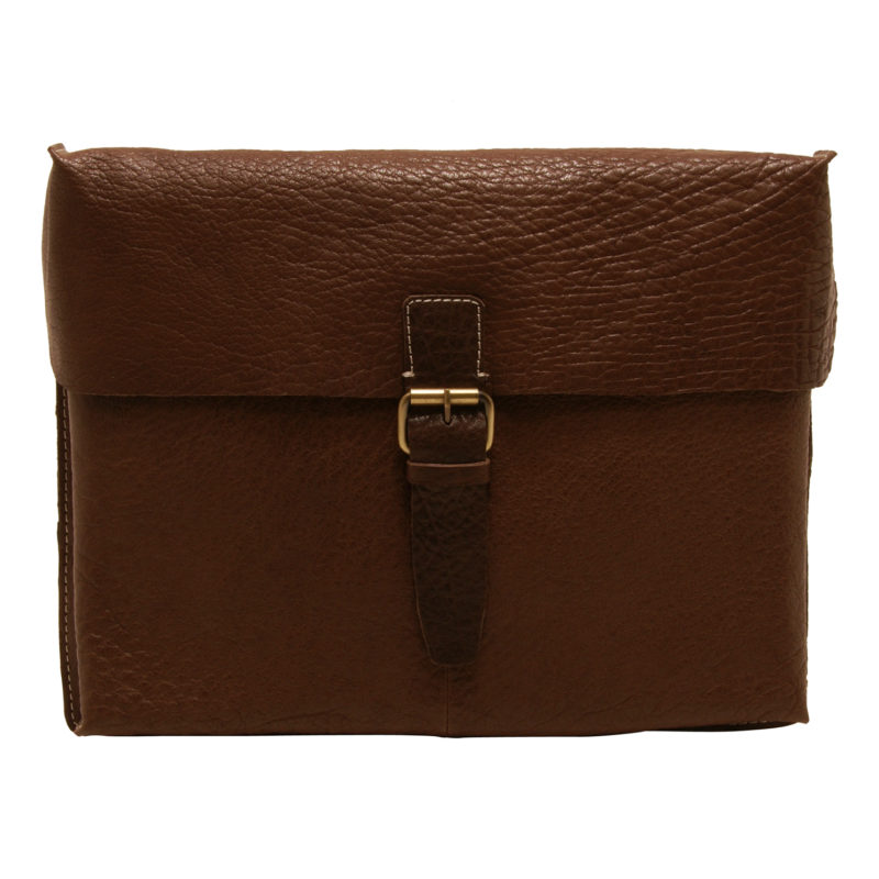 Ashwood – Brown Bank Messenger/Satchel Style Bag in Buff Grain Leather