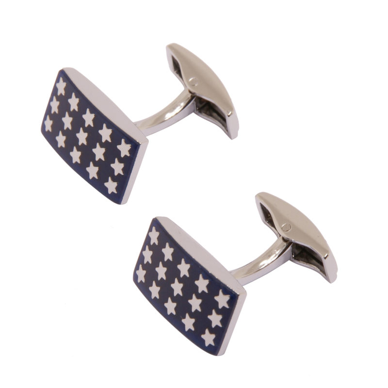 Sophos – Blue 15 Silver Stars Rectangular Cufflinks in Gift Box