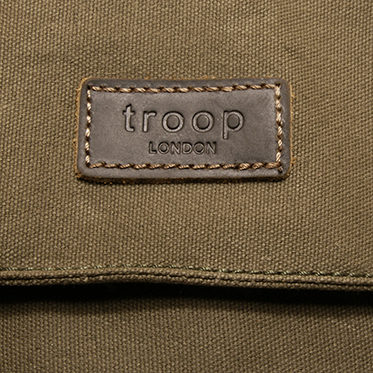 Troop London – Olive Green Canvas Heritage Across Messenger Bag with Leather Trim