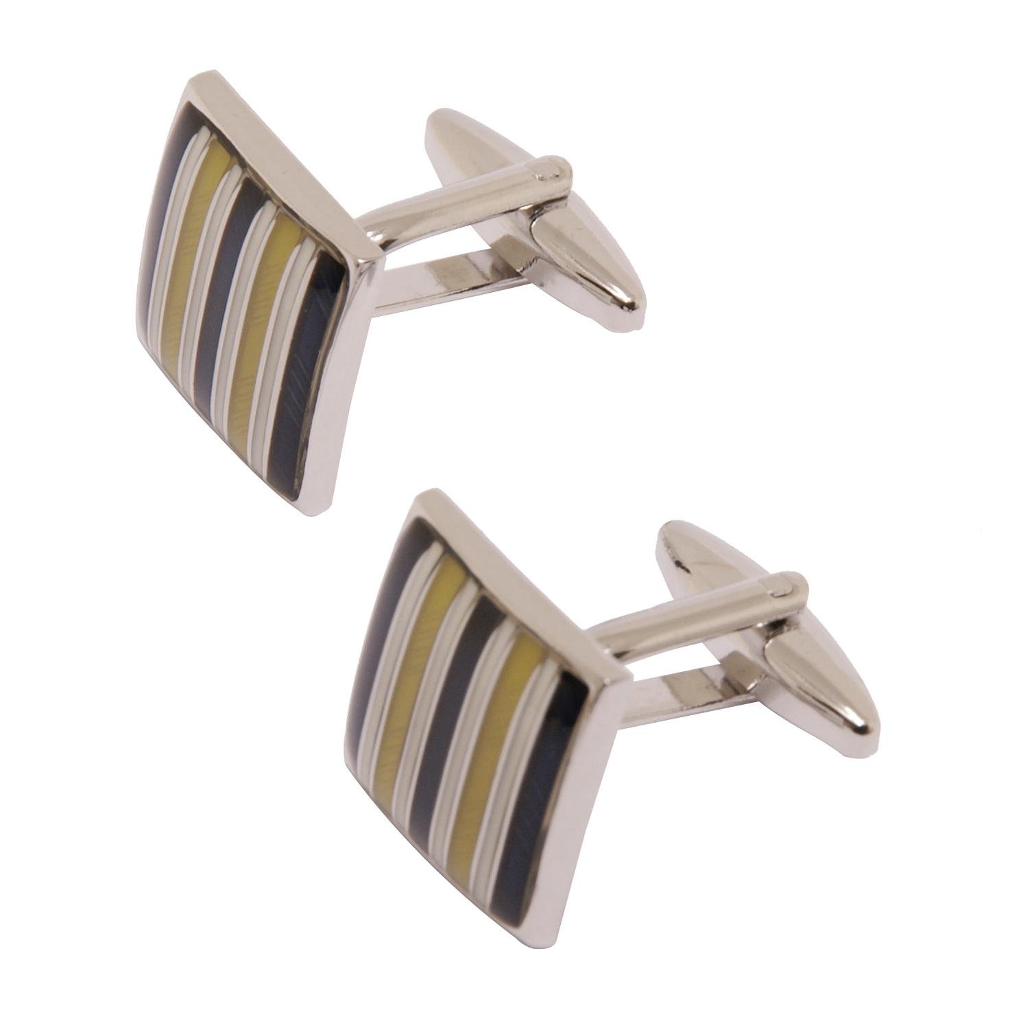 Sophos – Yellow Stripe Square Cufflinks in Gift Box
