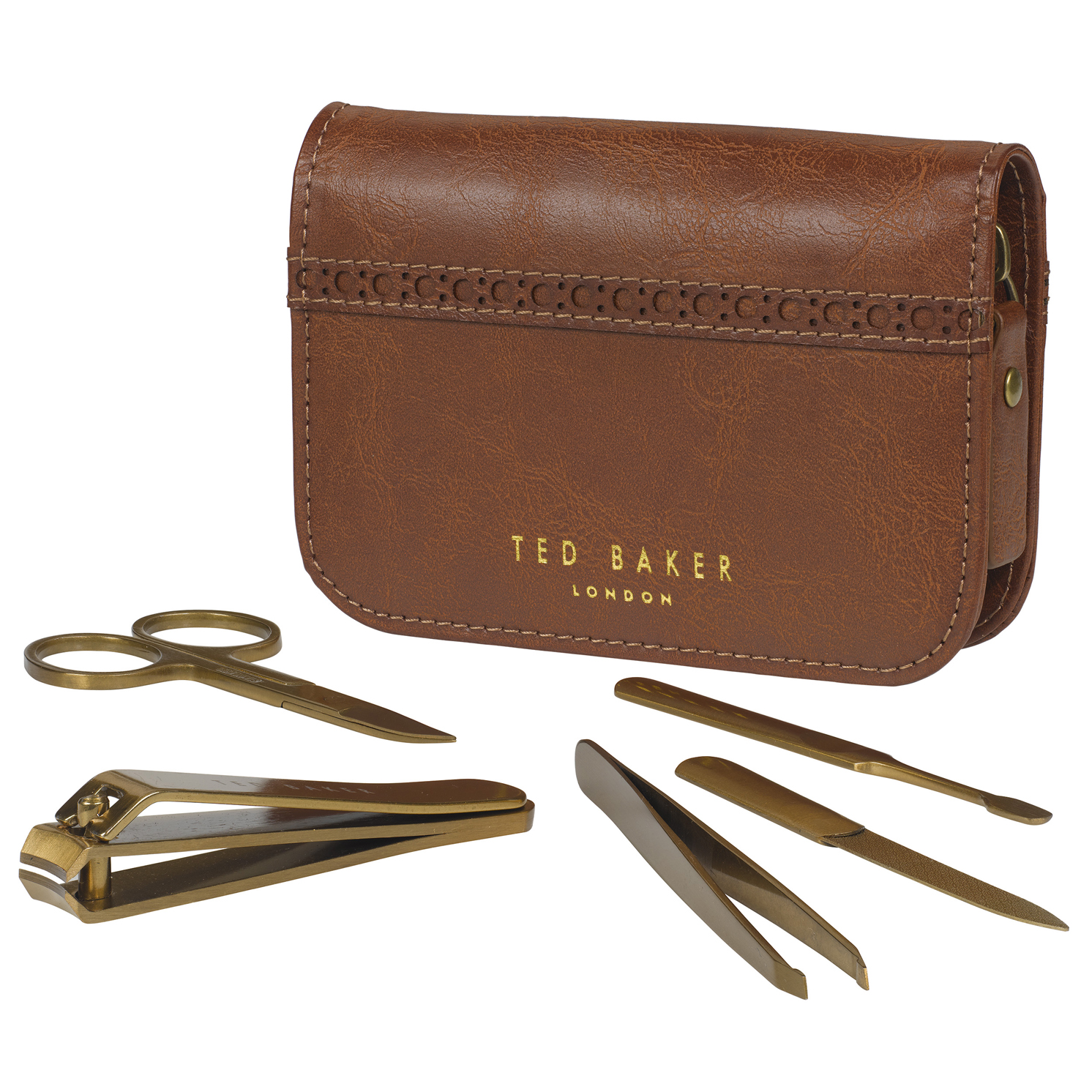 Ted Baker – 5 Piece Manicure Set in Brown Brogue Zip Around Case