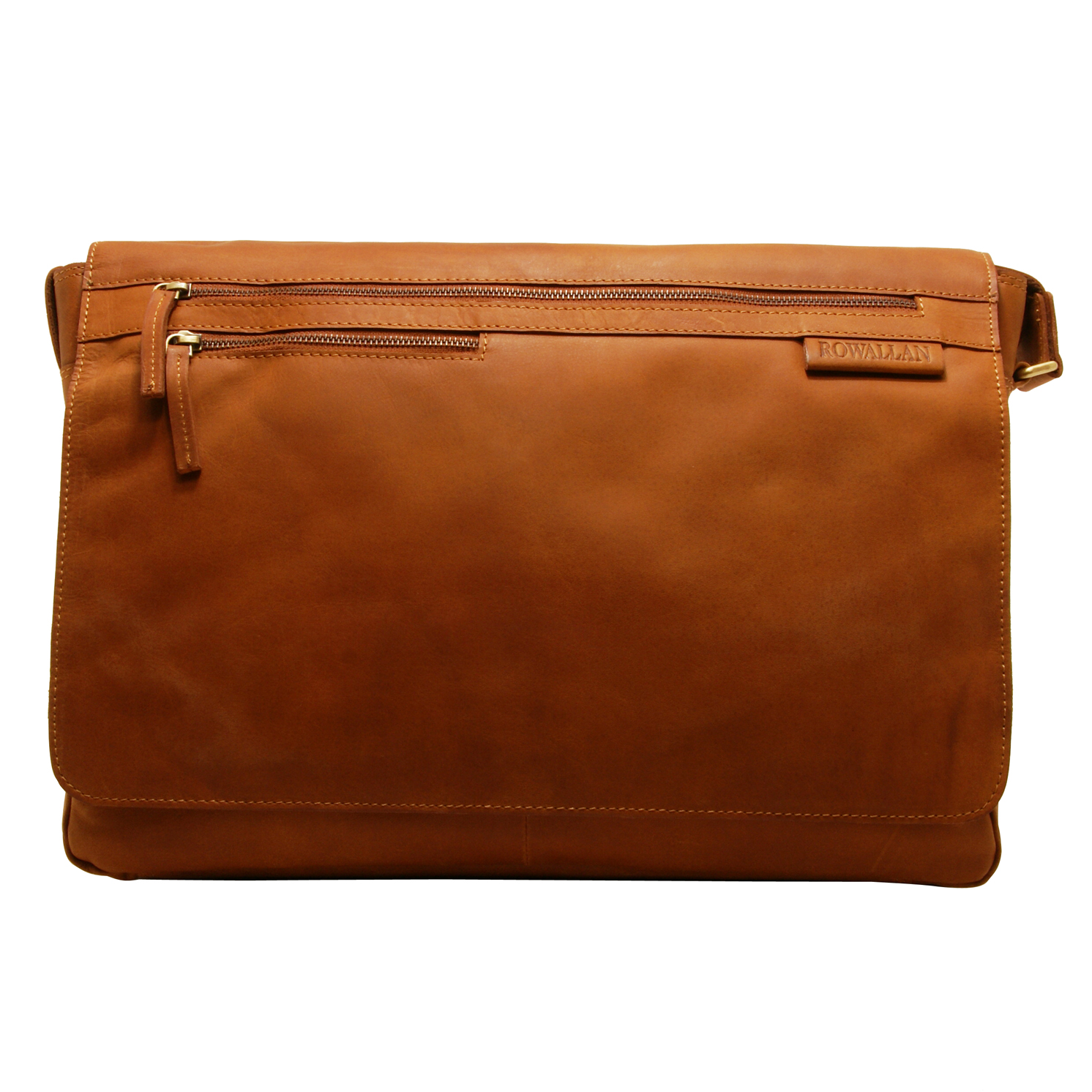 Rowallan – Large Cognac Pittsburgh Messenger Bag with Laptop Sleeve in Buffalo Leather