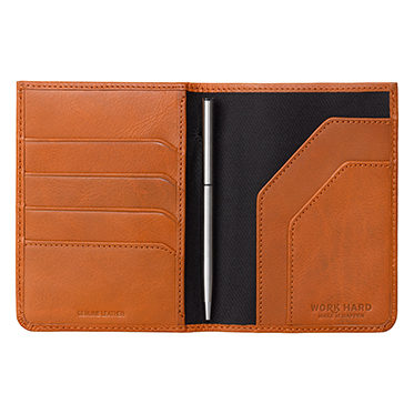Stanley Tools – Tan Leather Travel Wallet with Pen in Presentation Gift Box