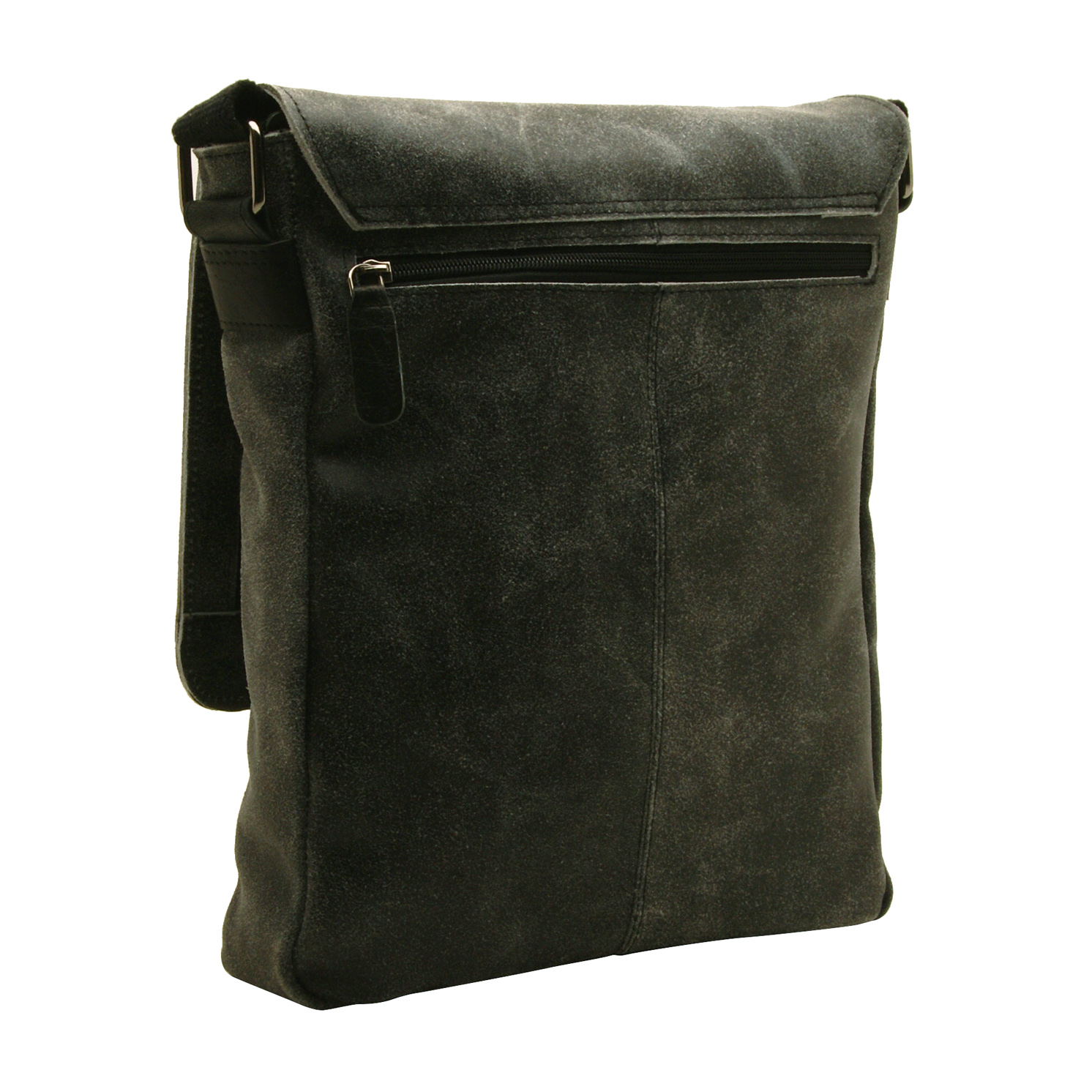 Ashwood – Black Messenger Bag in Cow Snuffed Distressed Leather