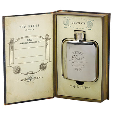 Ted Baker – Voyager's Hip Flask in Book Style Presentation Gift Box