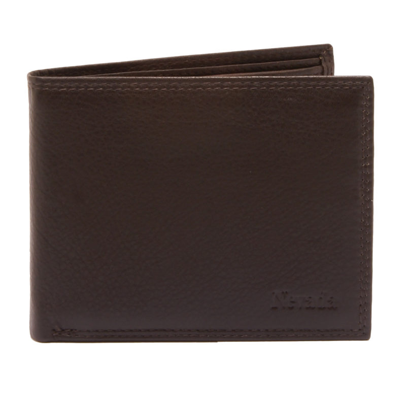 Hansson – Brown Leather Nevada Flip Up Billfold Wallet with Coin Purse