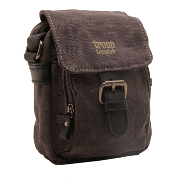 Troop London – Small Black Classic Messenger/Body Bag in Canvas-Leather