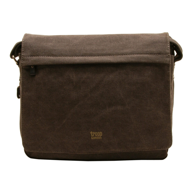 Troop London – Black Canvas Classic Laptop Messenger Bag with Leather Trim