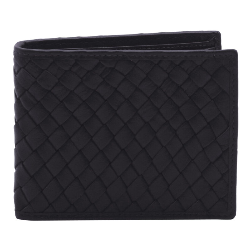 Hansson – Navy Blue Billfold Wallet with Coin Purse in Woven Cow Napa Leather