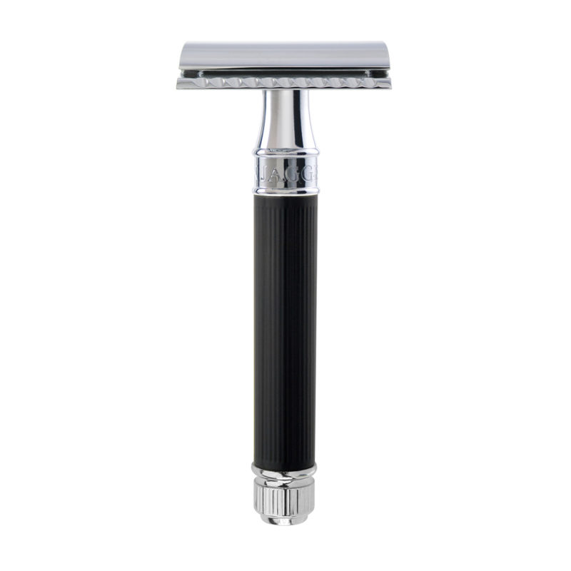 Edwin Jagger – Black Rubber Coated DE Safety Razor with Blade in Gift Box