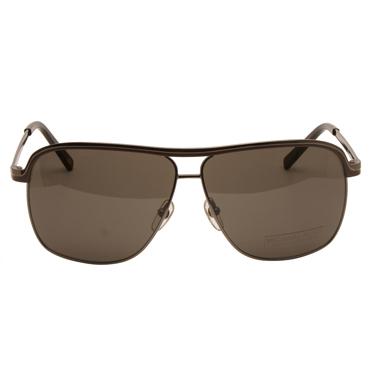 Michael Kors – Gunmetal & Brown Sebastian Aviator Style Sunglasses with Case