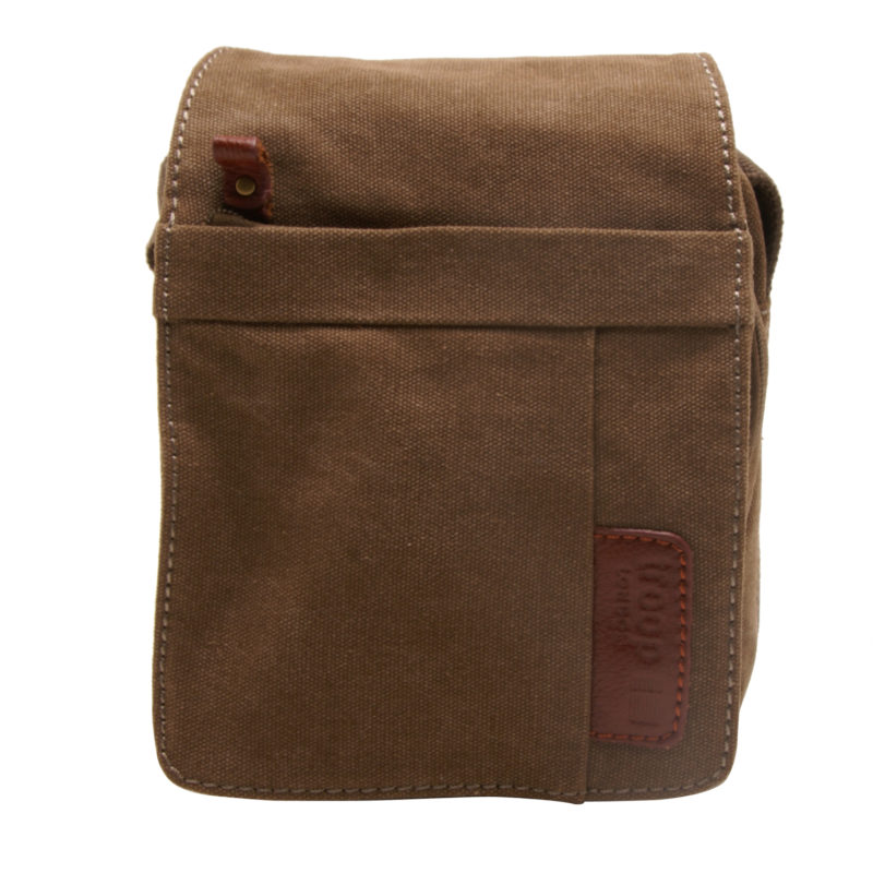 Troop London – Small Brown Classic Canvas Messenger/Body Bag with Leather Trim