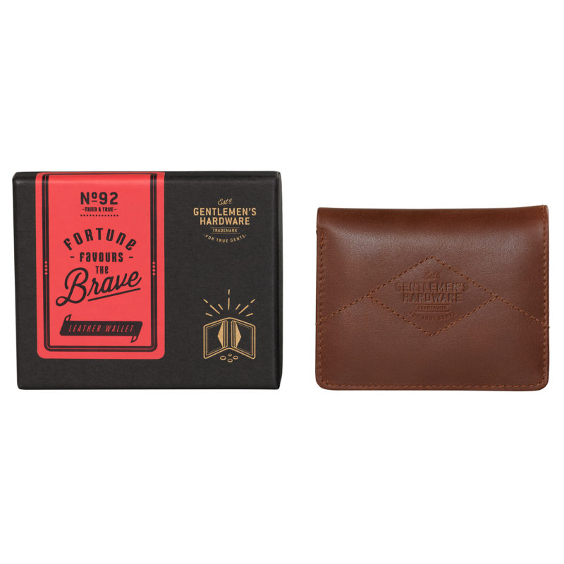 Gentlemen's Hardware – Tan Leather Bi-Fold Wallet with Black Canvas in Gift Box