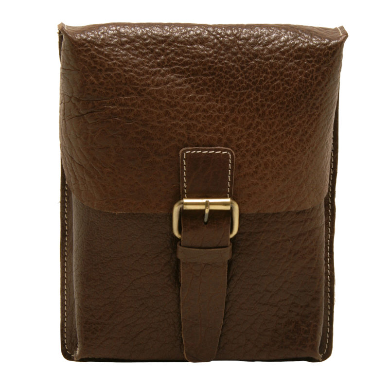 Ashwood – Small Brown Jeff Messenger Bag in Buff Grain Leather