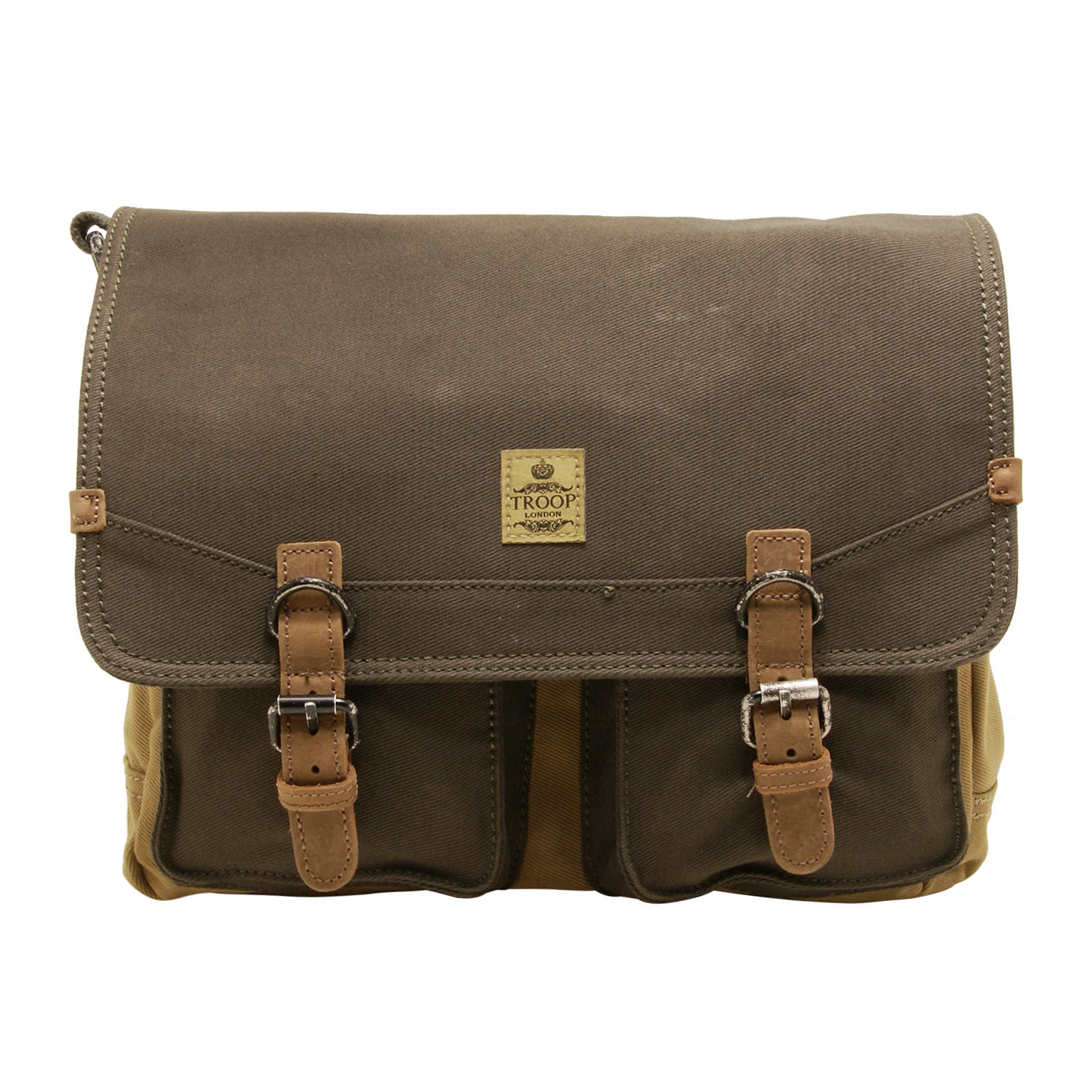 Troop London – Green & Camel Canvas Tablet Friendly Messenger Bag with Leather Trim