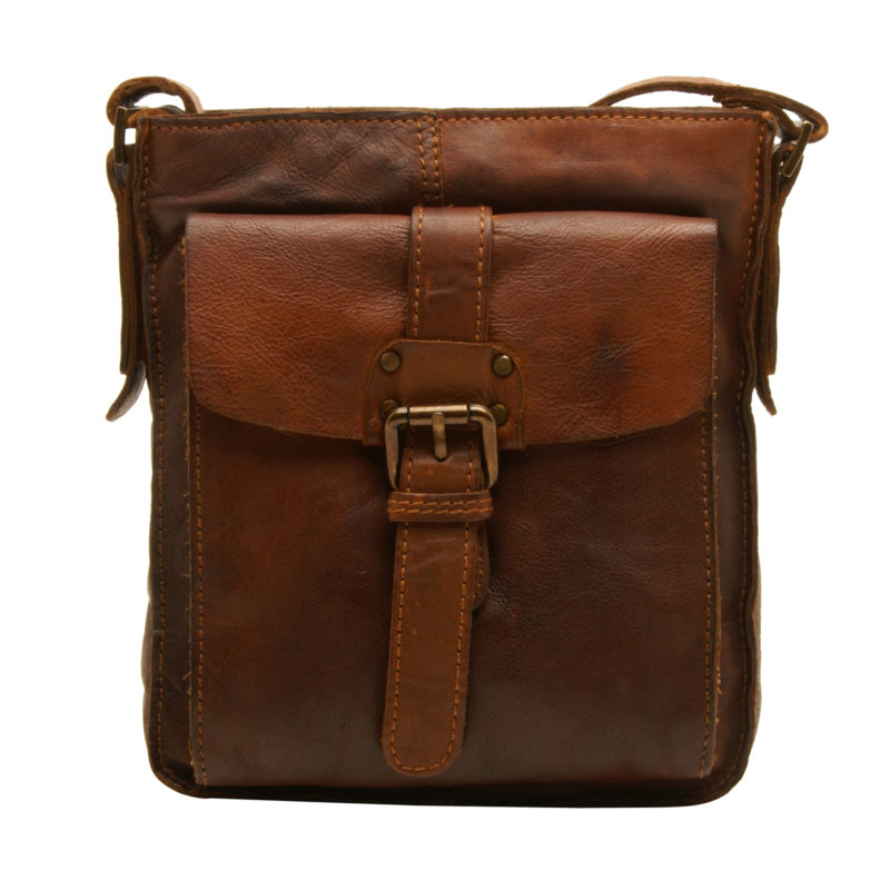Ashwood – Tan Shoreditch Messenger Flight Bag in Cowhide Leather