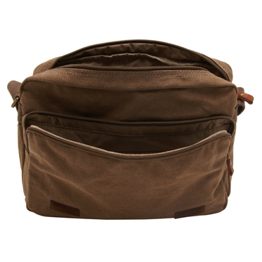 Troop London – Brown Classic Messenger Bag in Canvas-Leather