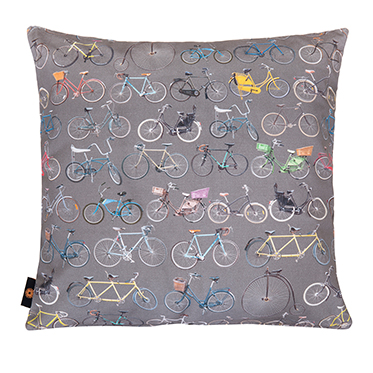 Ella Doran – Bikes of Hackney on Storm Grey Cushion