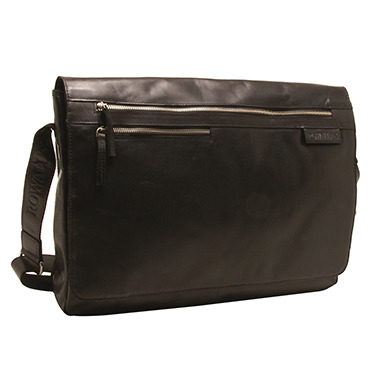 Rowallan – Large Black Pittsburgh Messenger Bag with Laptop Sleeve in Buffalo Leather