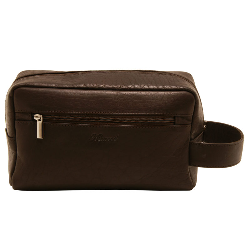 Ashwood – Brown Wash Bag with Carrying Handle in Buffalo Smooth Leather