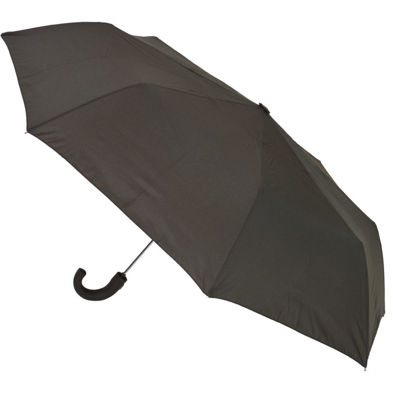 Soake – Black Automatic Folding Compact Umbrella with Matt Hook Handle