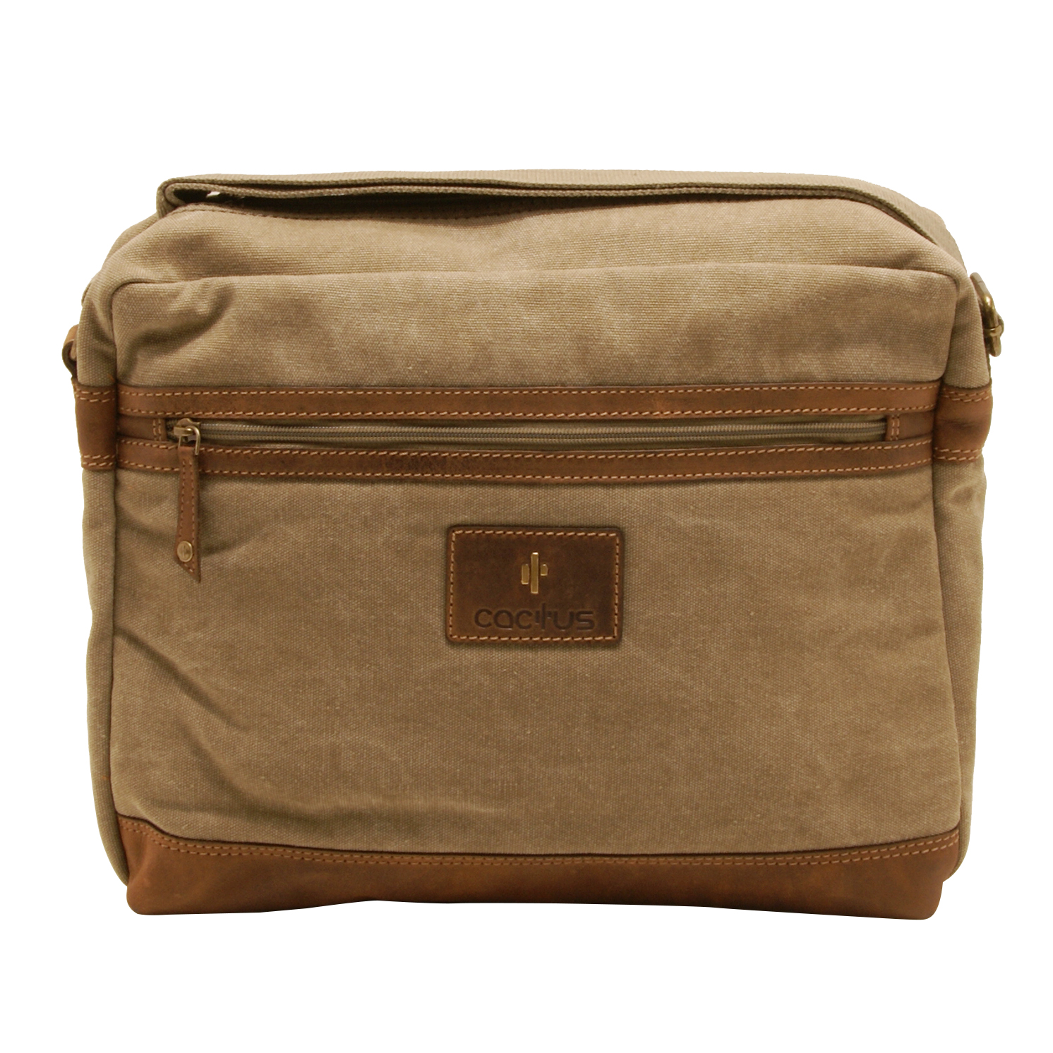 Cactus – Zipped Top Messenger Bag with Laptop/Tablet Sleeve in Khaki Canvas