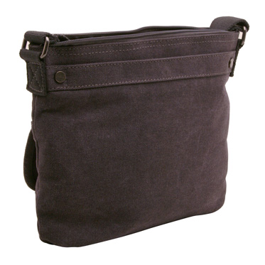 Troop London – Black Classic Across Body/Messenger Bag in Canvas-Leather