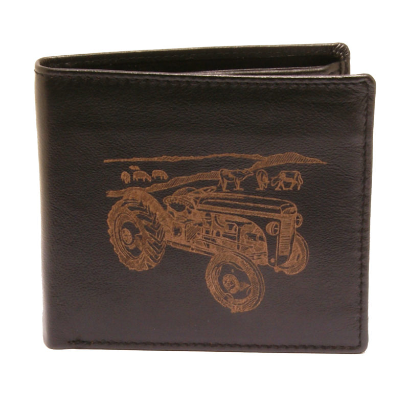 PellMell – Soft Black Leather Coin Purse Wallet with Engraved Tractor Design