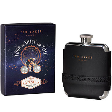 Ted Baker – Black Brogue Voyager's Hip Flask in Presentation Gift Box