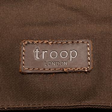 Troop London – Dark Brown Canvas Heritage Messenger/Satchel Bag with Leather Trim