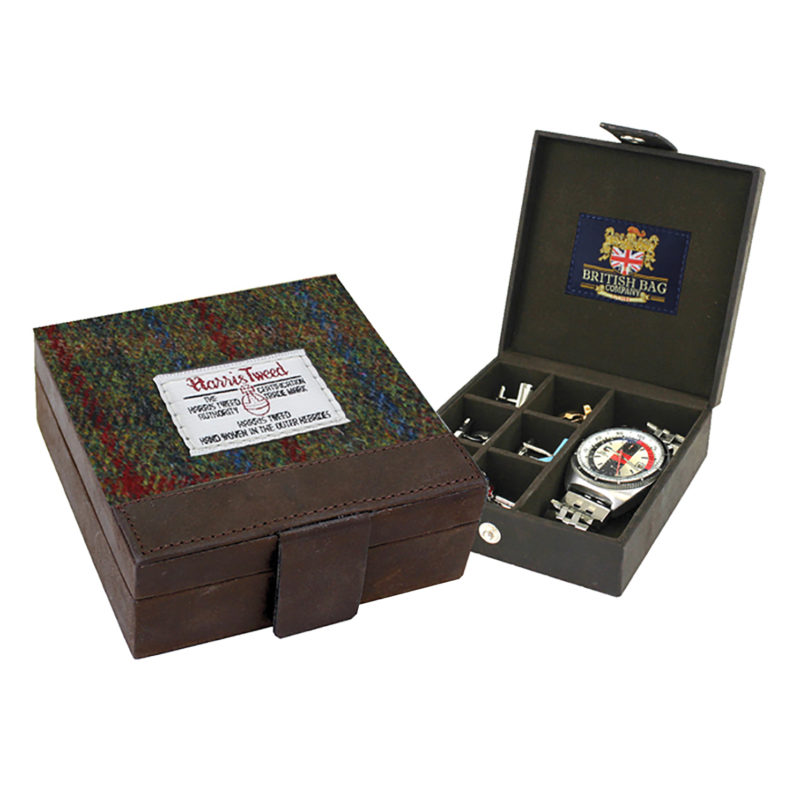 The British Bag Company – Breanais Harris Tweed Cuff Link Box with Leather Trim